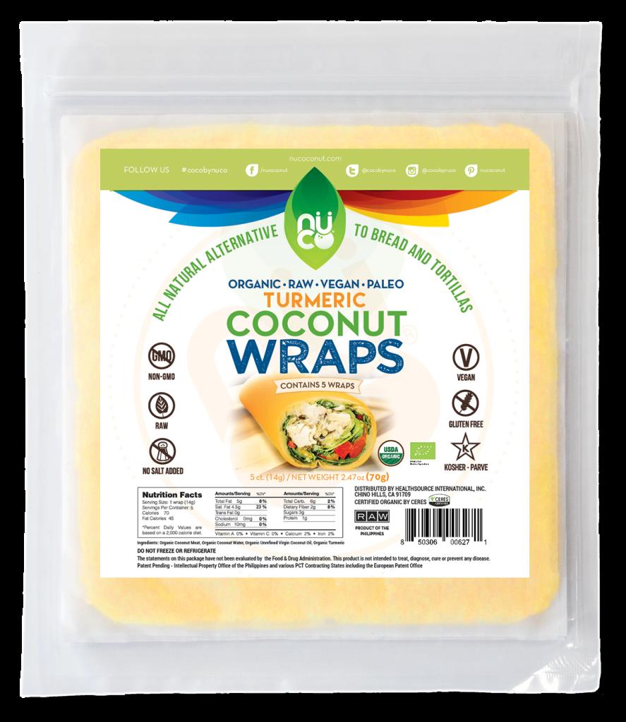 NUCO Organic Coconut Wraps - Turmeric Flavor